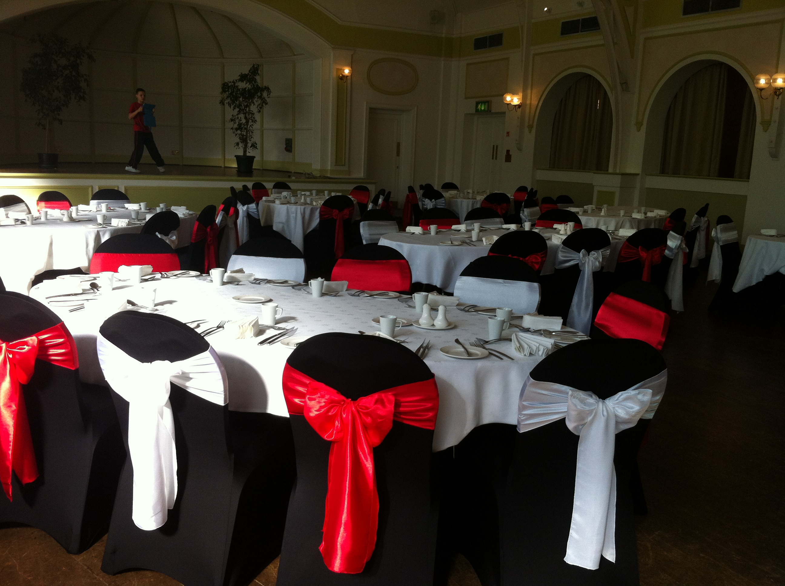wedding decor ruched black chair amazing exquisite products band with white cap and events covers sashes bands